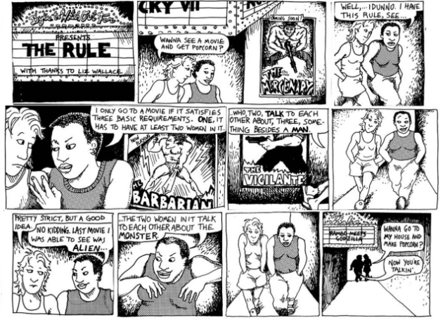 Bechdel Test comic strip, found via Google Images.